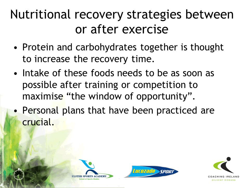 Nutritional recovery strategies between or after exercise