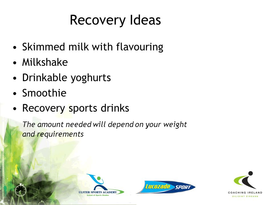 Recovery Ideas Skimmed milk with flavouring Milkshake