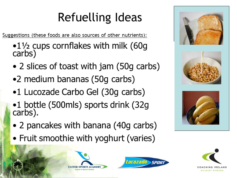 Refuelling Ideas 1½ cups cornflakes with milk (60g carbs)