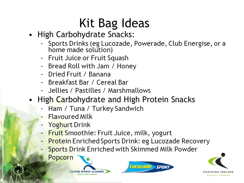 Kit Bag Ideas High Carbohydrate Snacks: