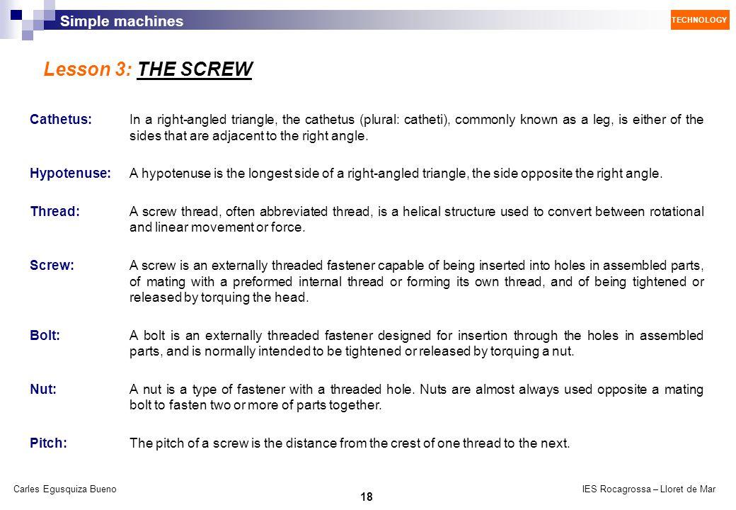 Lesson 3: THE SCREW