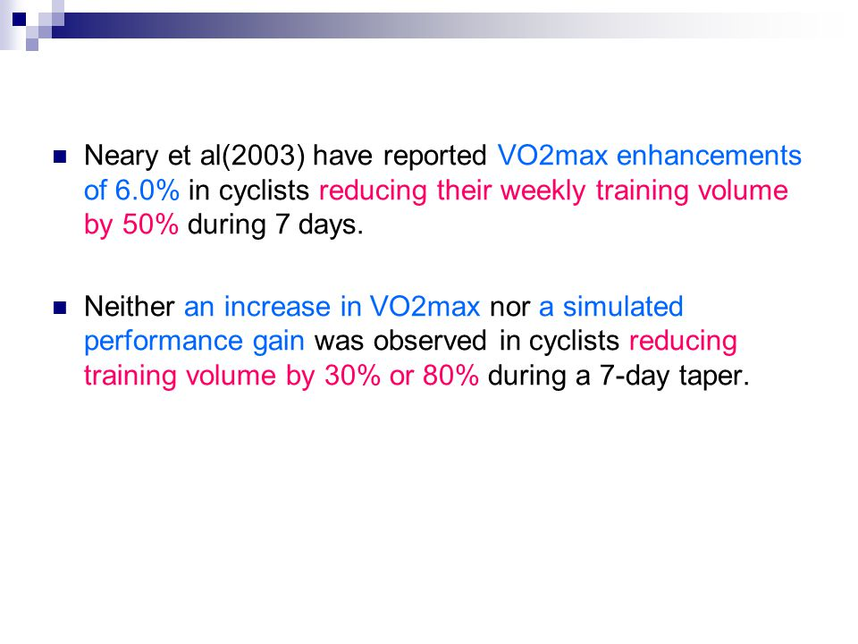 Neary et al(2003) have reported VO2max enhancements of 6