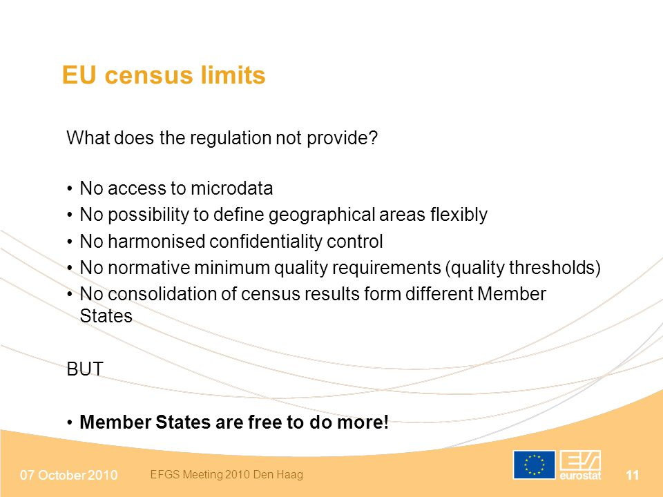 EU census limits What does the regulation not provide