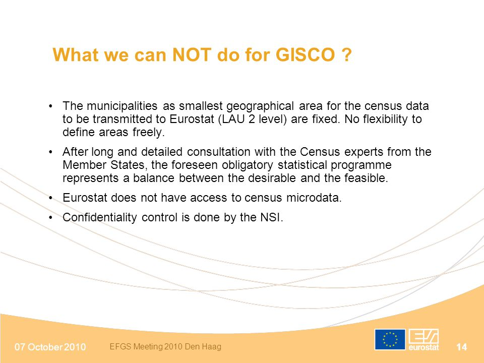 What we can NOT do for GISCO
