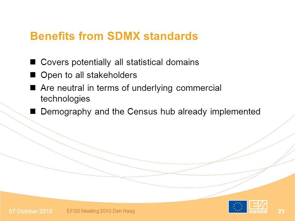Benefits from SDMX standards