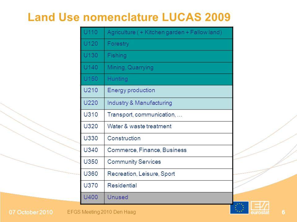 Land Use nomenclature LUCAS 2009
