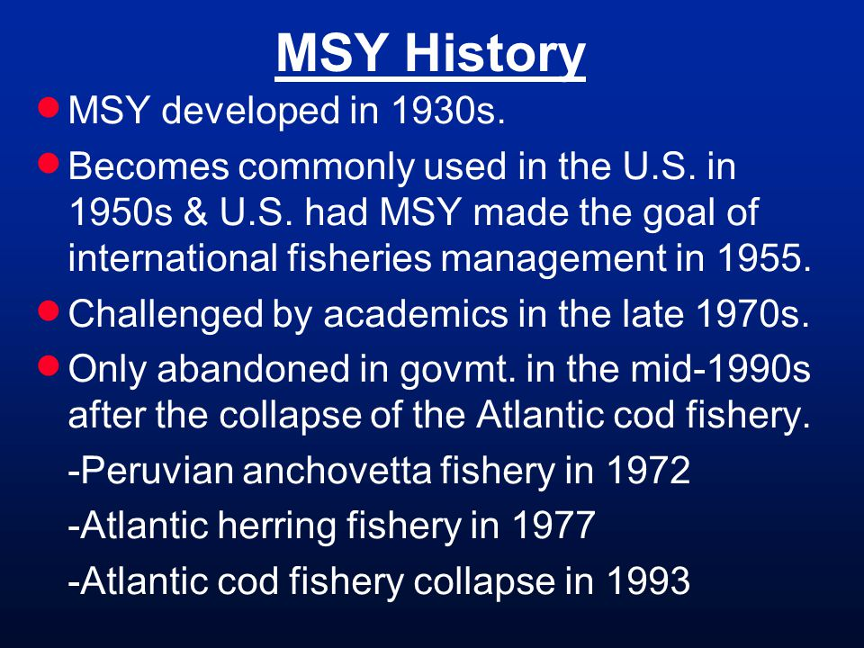 MSY History MSY developed in 1930s.