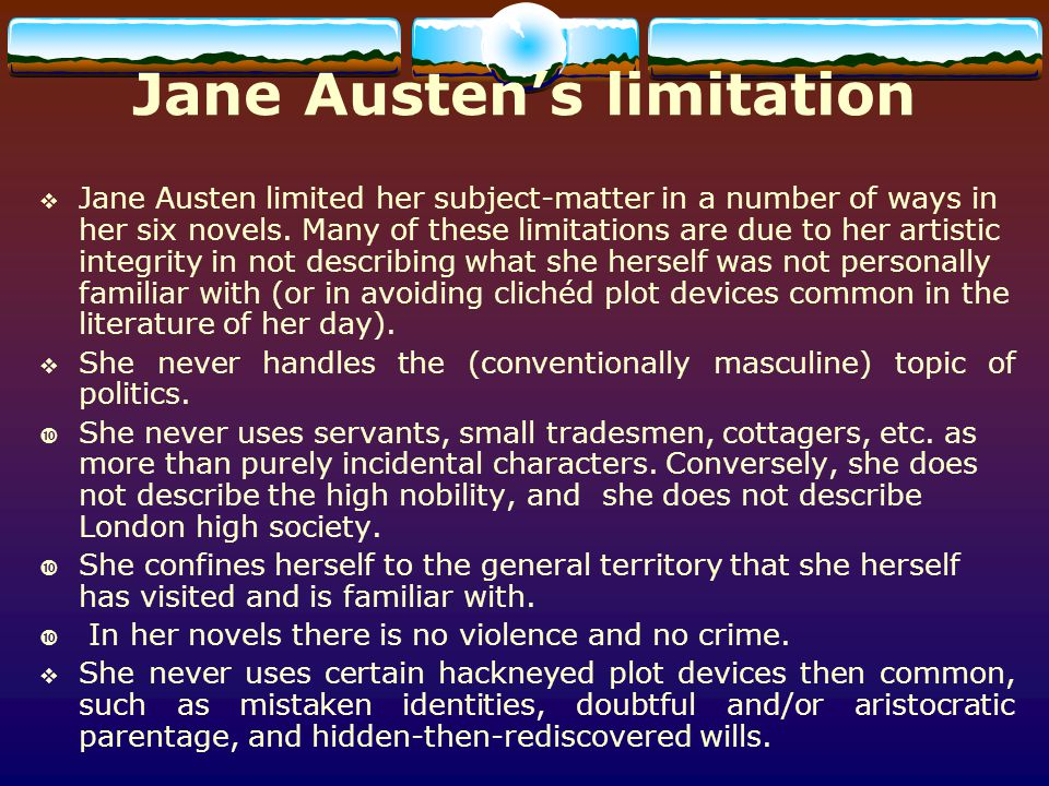 Jane Austen's limitation
