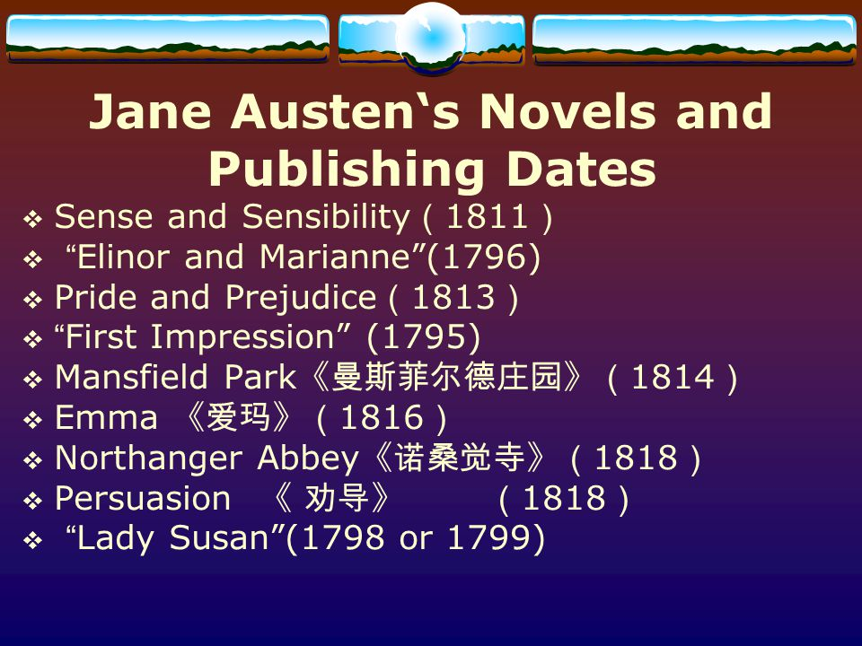 Jane Austen's Novels and Publishing Dates