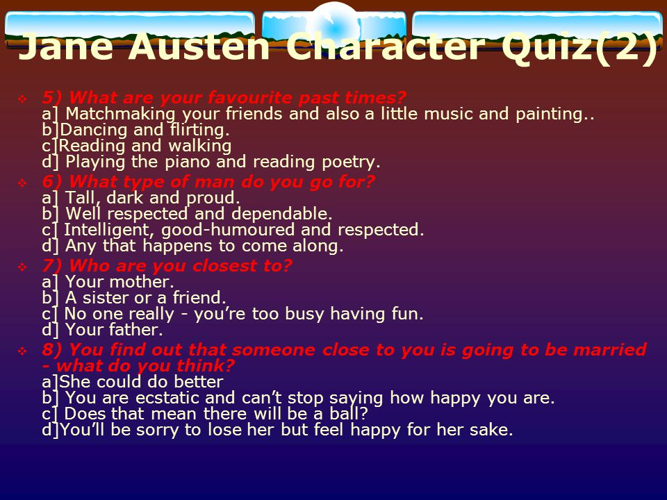 Jane Austen Character Quiz(2)