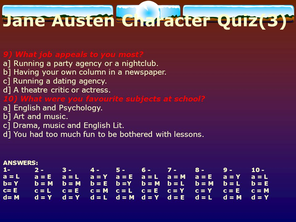 Jane Austen Character Quiz(3)