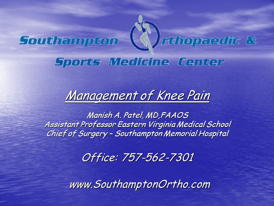 Management of Knee Pain