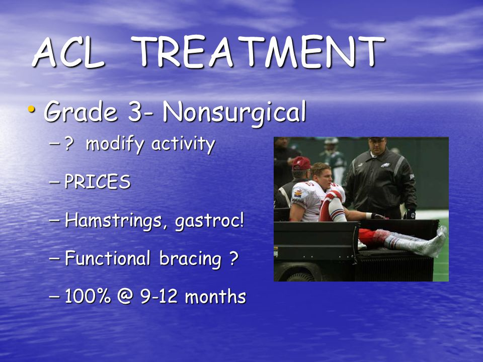 ACL TREATMENT Grade 3- Nonsurgical modify activity PRICES