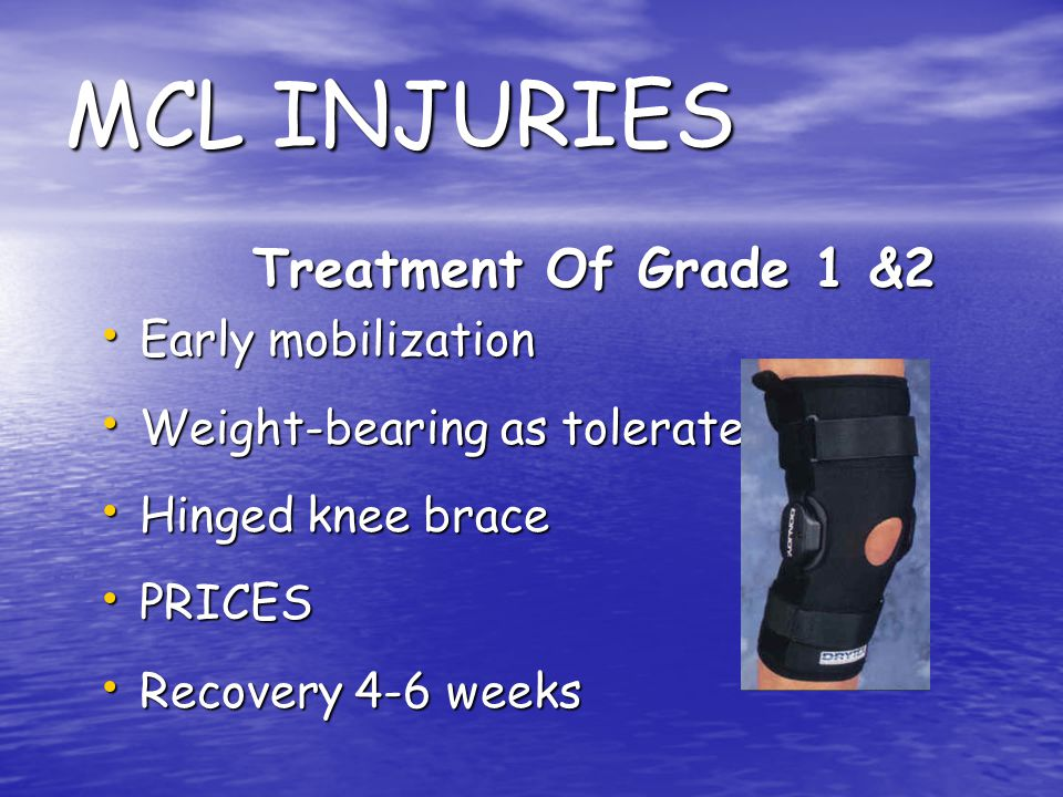 MCL INJURIES Treatment Of Grade 1 &2 Early mobilization