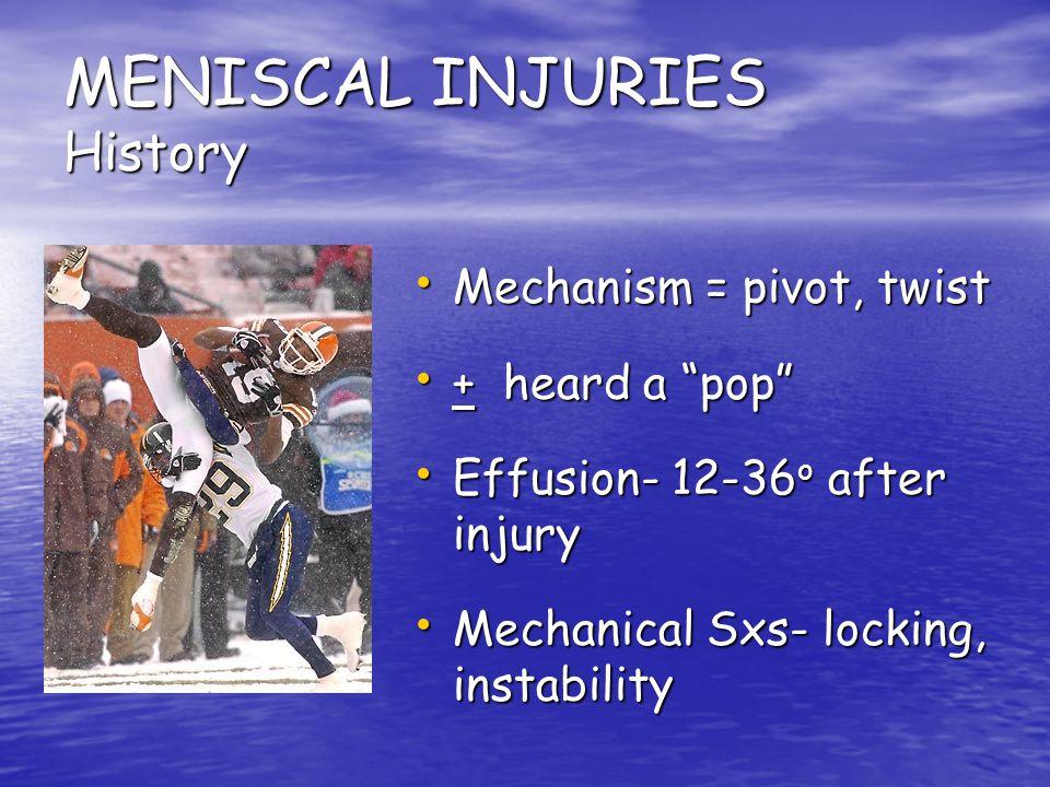 MENISCAL INJURIES History