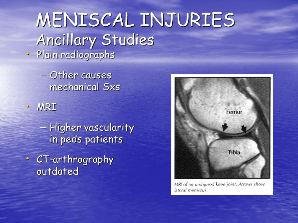 MENISCAL INJURIES Ancillary Studies