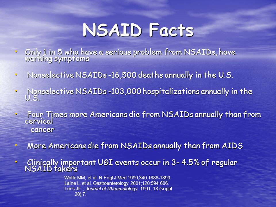NSAID Facts Only 1 in 5 who have a serious problem from NSAIDs, have warning symptoms. Nonselective NSAIDs -16,500 deaths annually in the U.S.