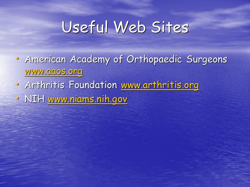 Useful Web Sites American Academy of Orthopaedic Surgeons www.aaos.org