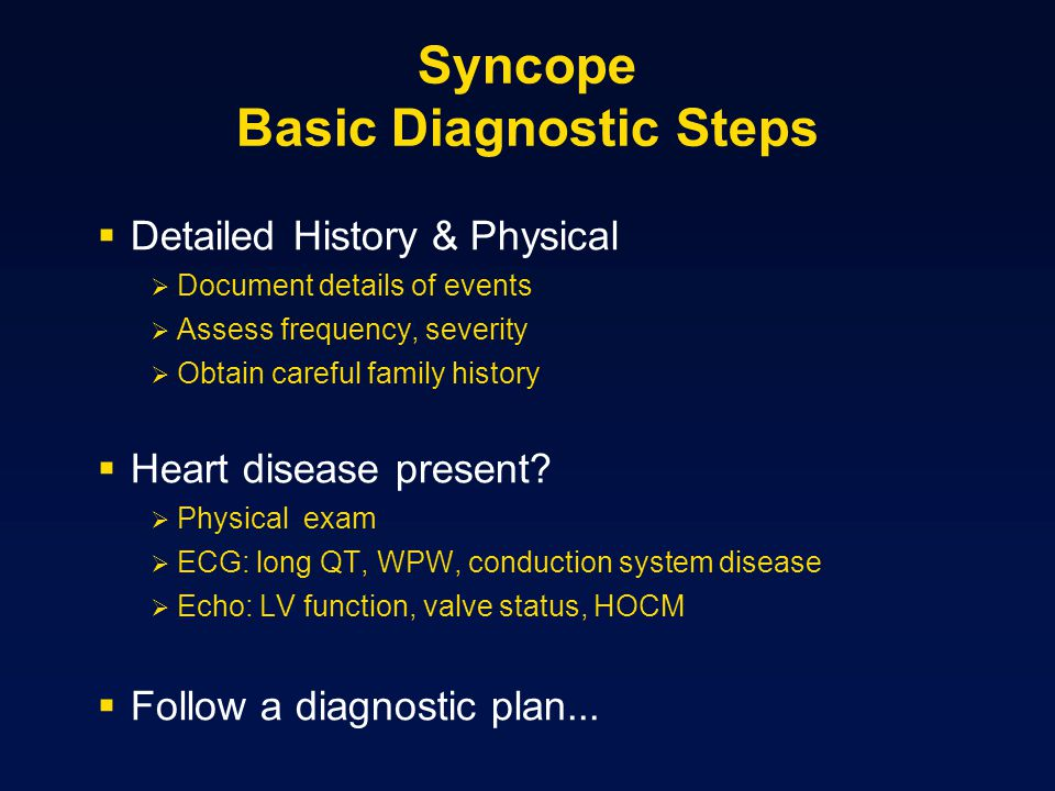Syncope Basic Diagnostic Steps