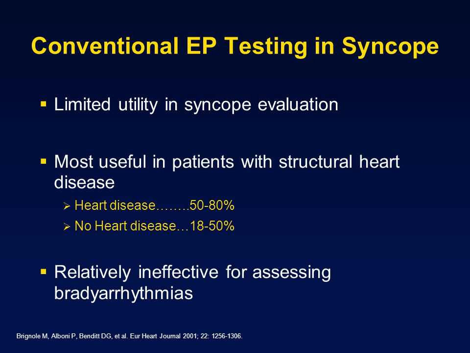 Conventional EP Testing in Syncope