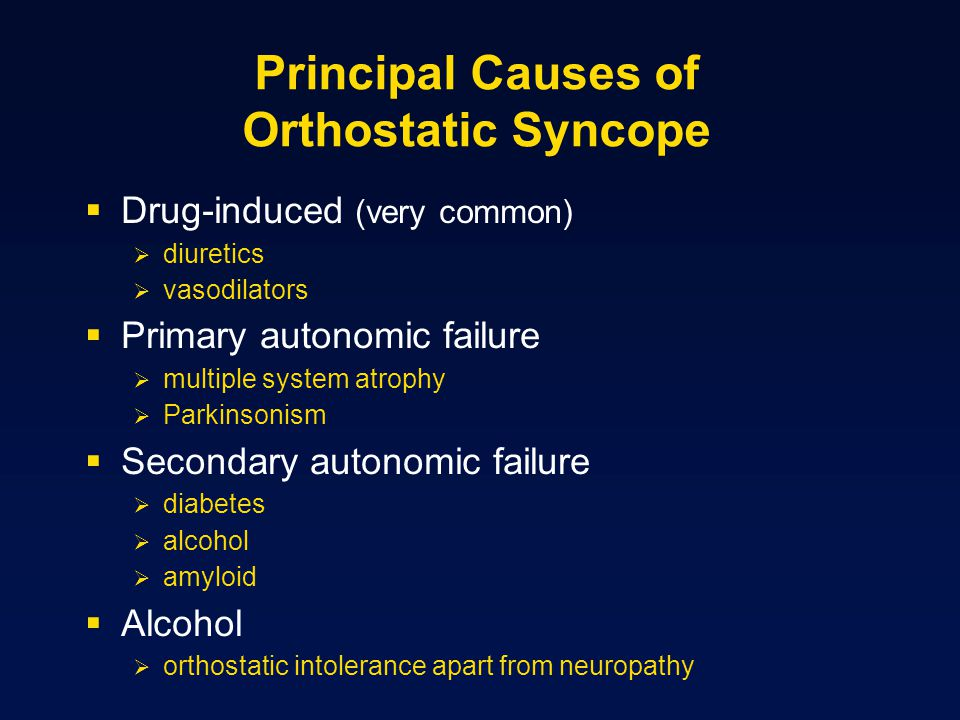Principal Causes of Orthostatic Syncope