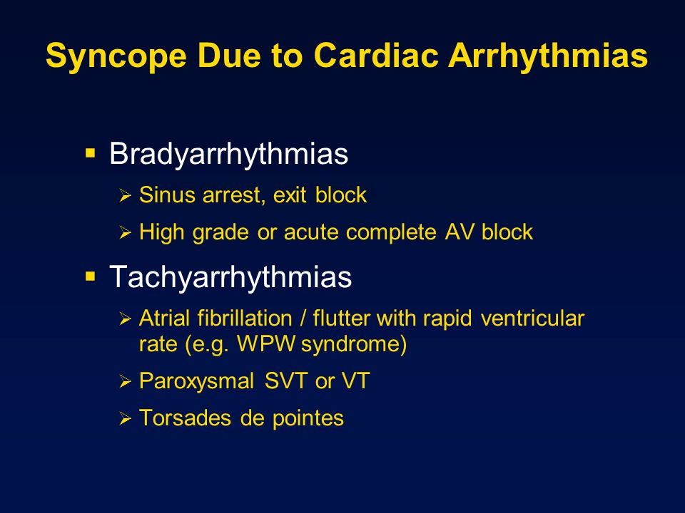 Syncope Due to Cardiac Arrhythmias