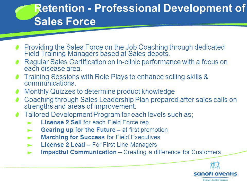Retention - Professional Development of Sales Force