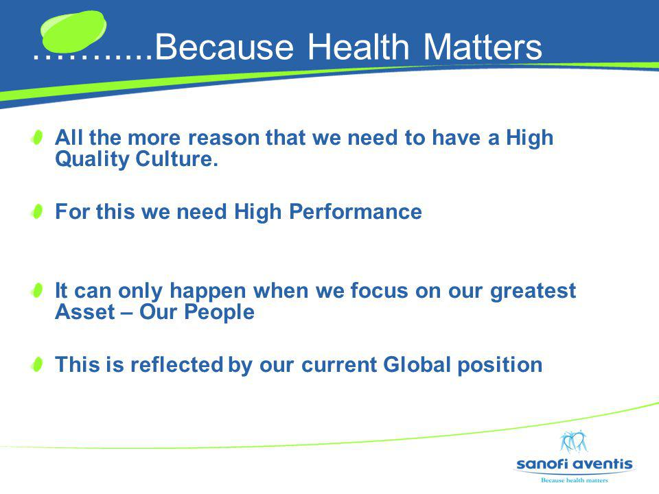 …….....Because Health Matters