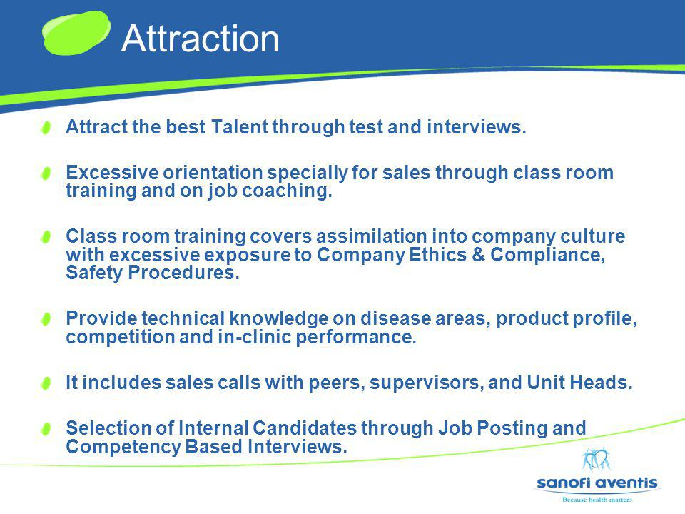 Attraction Attract the best Talent through test and interviews.