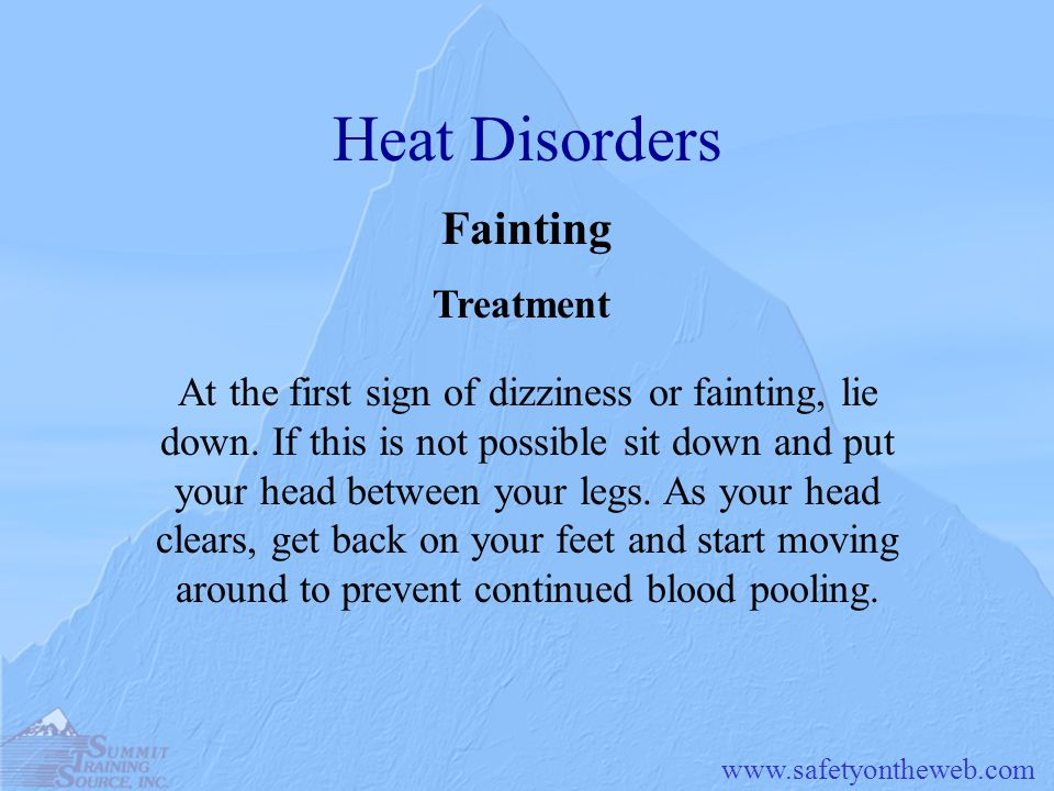 Heat Disorders Fainting Treatment