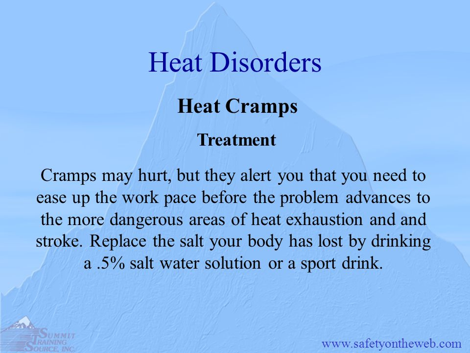 Heat Disorders Heat Cramps Treatment