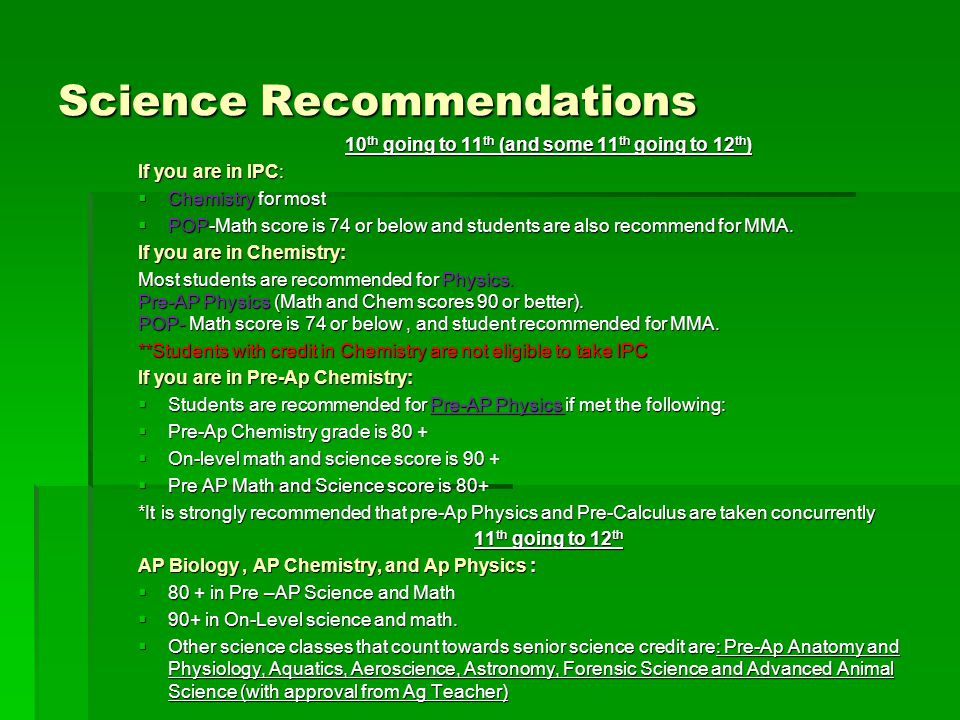 Science Recommendations