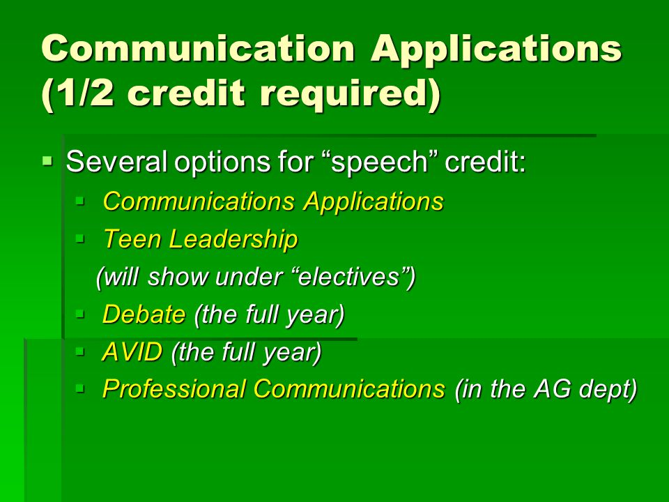Communication Applications (1/2 credit required)