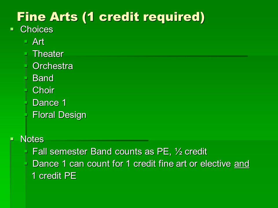 Fine Arts (1 credit required)