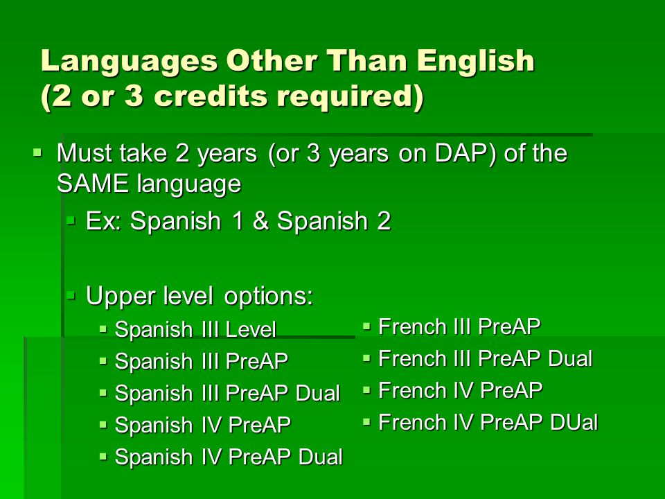 Languages Other Than English (2 or 3 credits required)