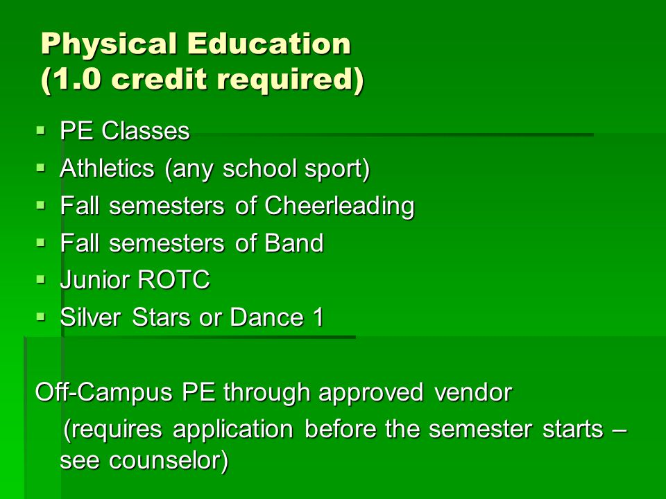 Physical Education (1.0 credit required)