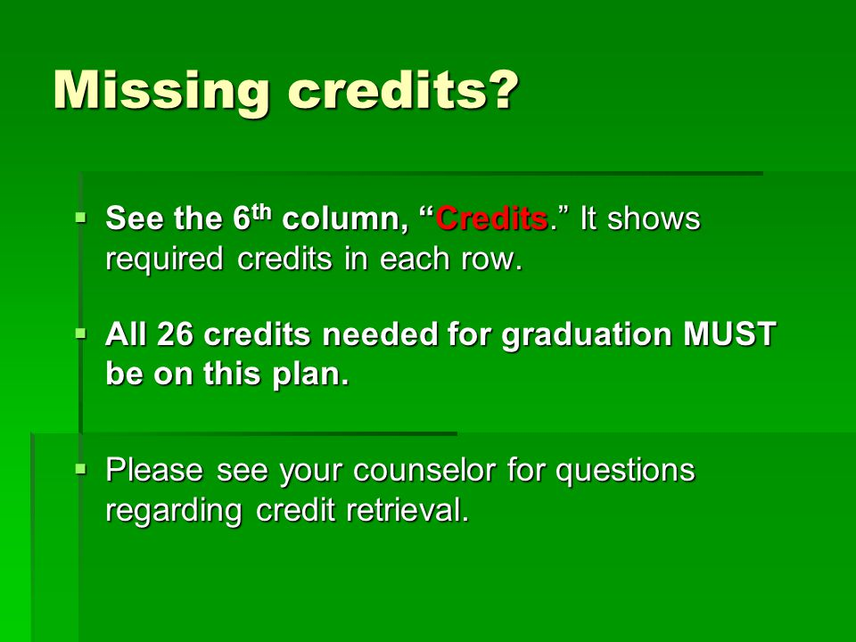 Missing credits See the 6th column, Credits. It shows required credits in each row. All 26 credits needed for graduation MUST be on this plan.