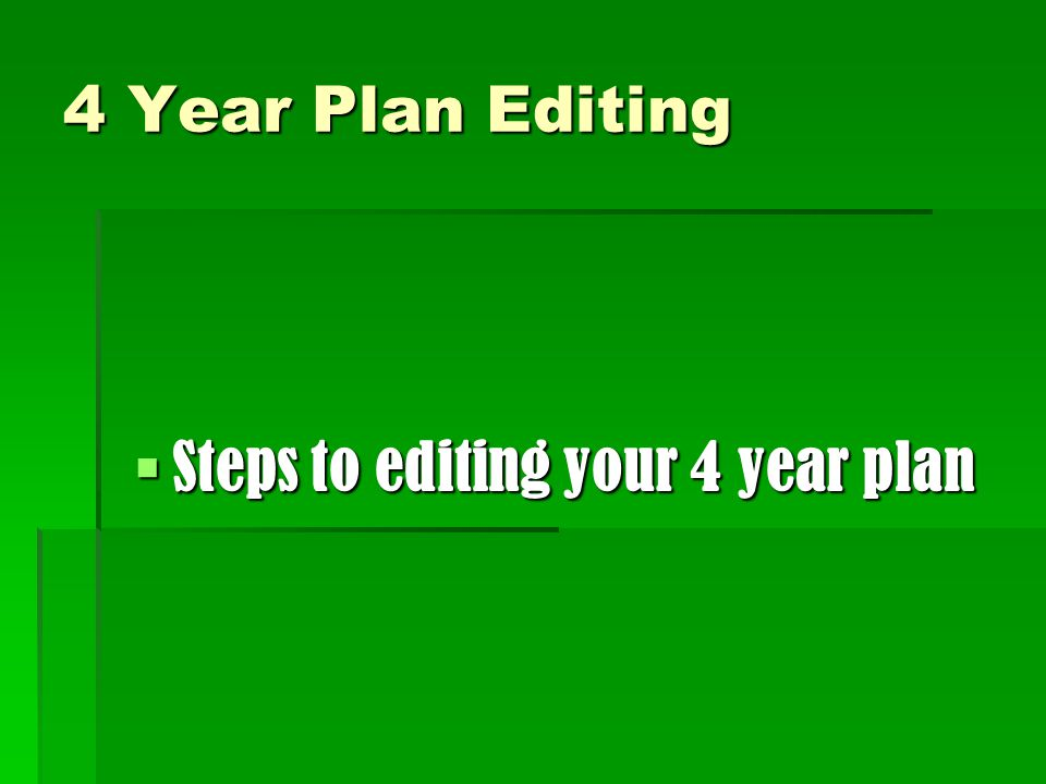 Steps to editing your 4 year plan