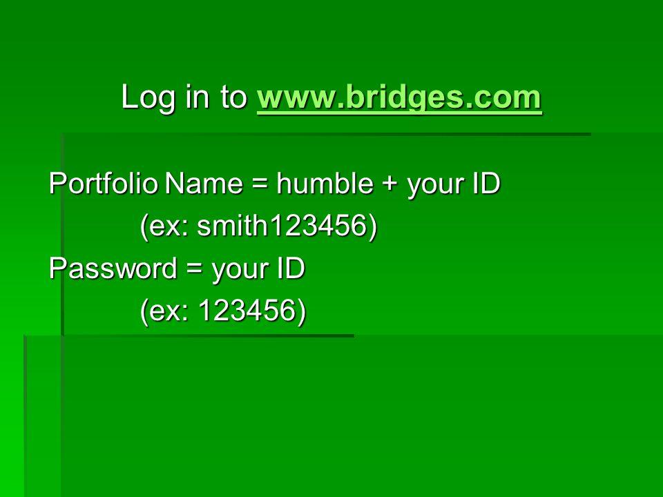 Log in to www.bridges.com