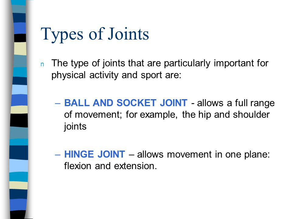 Types of Joints The type of joints that are particularly important for physical activity and sport are: