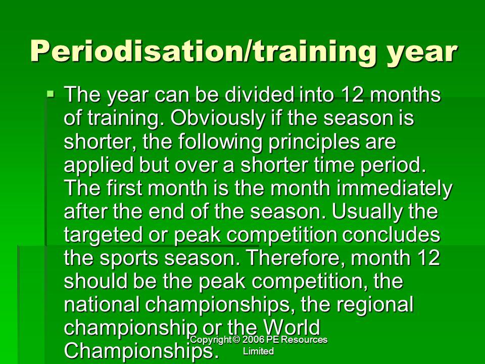 Periodisation/training year