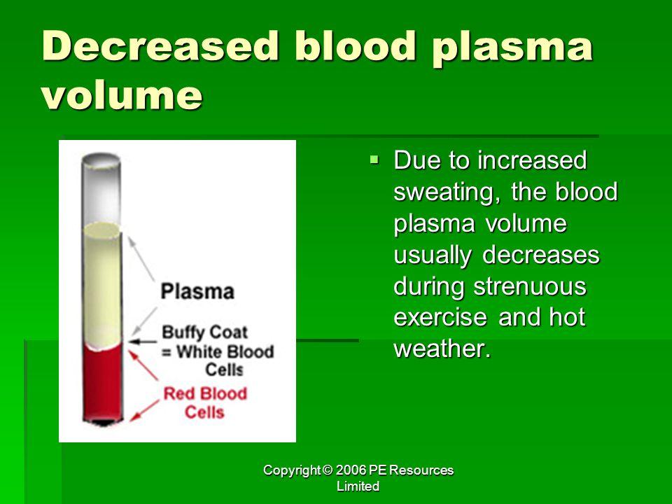 Decreased blood plasma volume