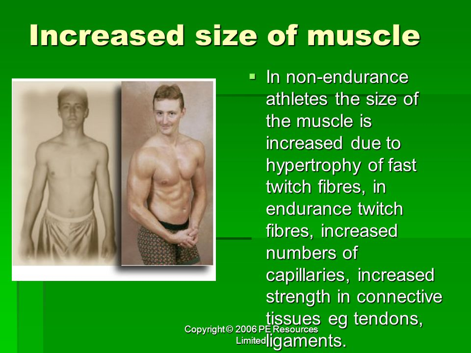 Increased size of muscle