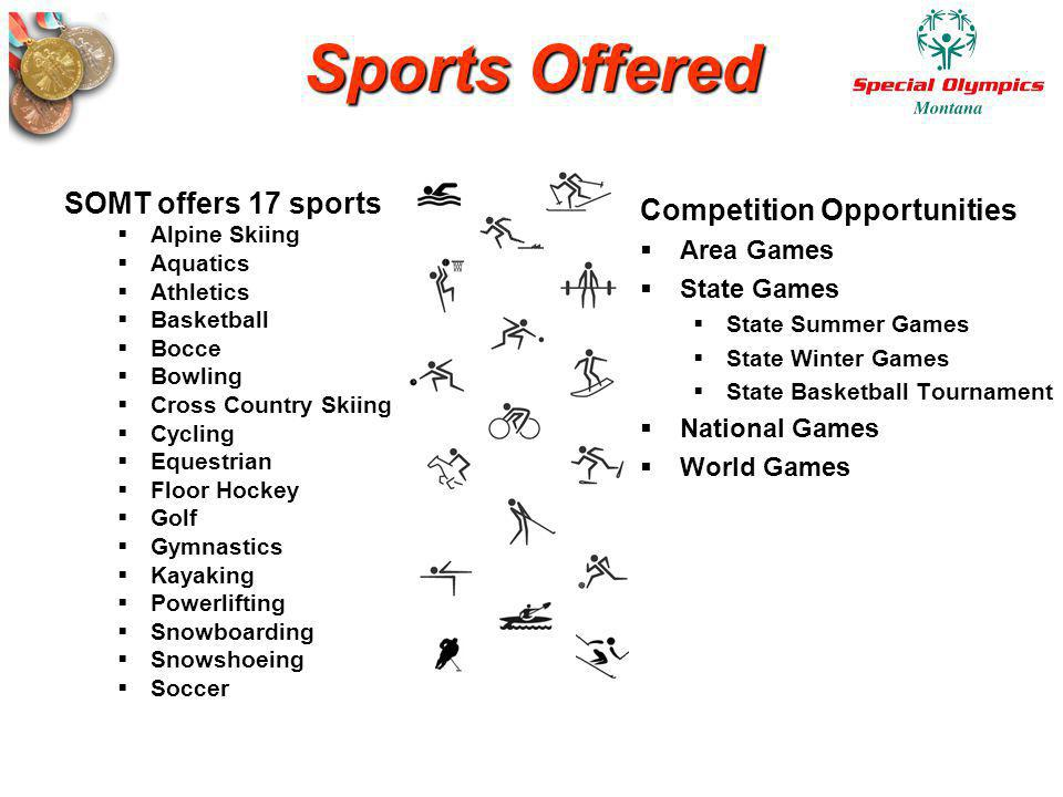 Sports Offered SOMT offers 17 sports Competition Opportunities