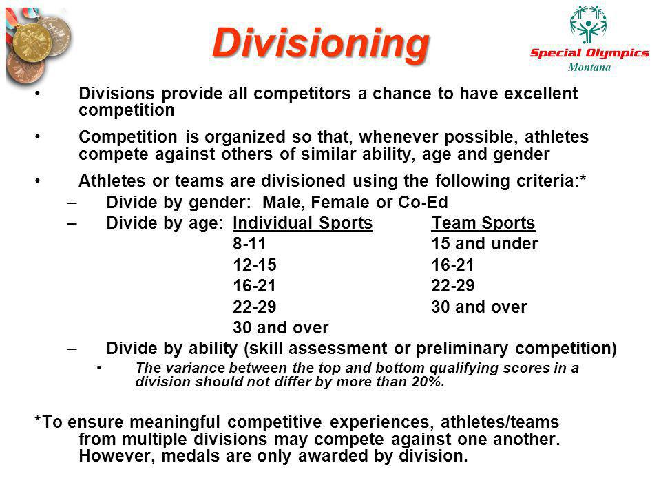 Divisioning Divisions provide all competitors a chance to have excellent competition.