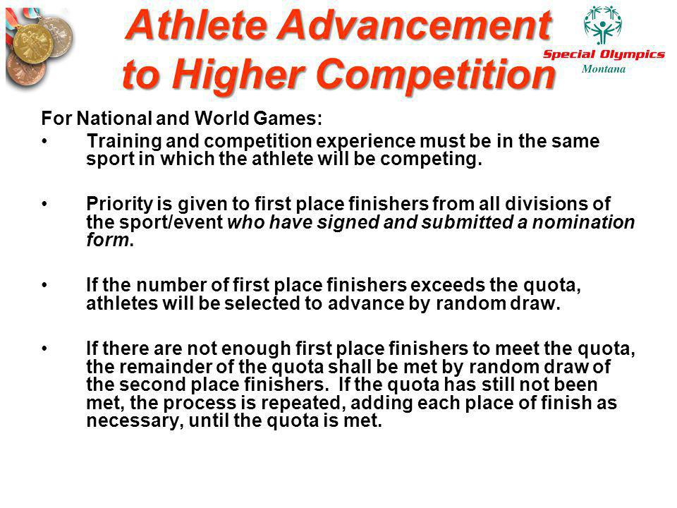 Athlete Advancement to Higher Competition