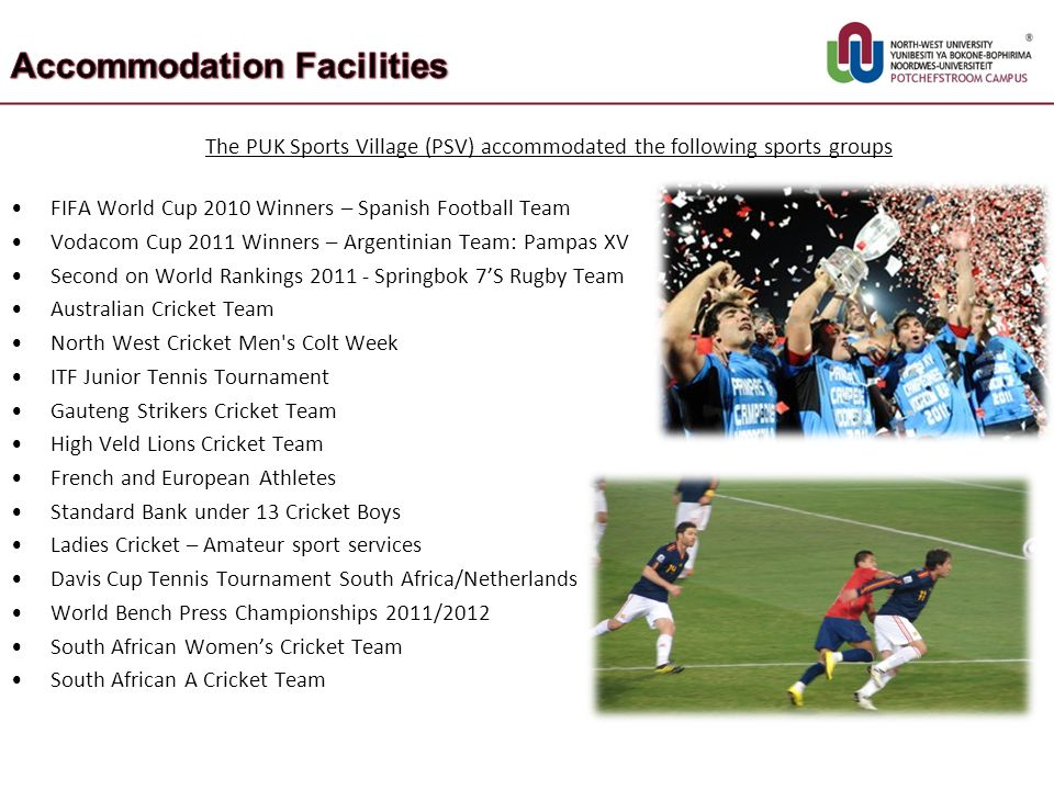 The PUK Sports Village (PSV) accommodated the following sports groups