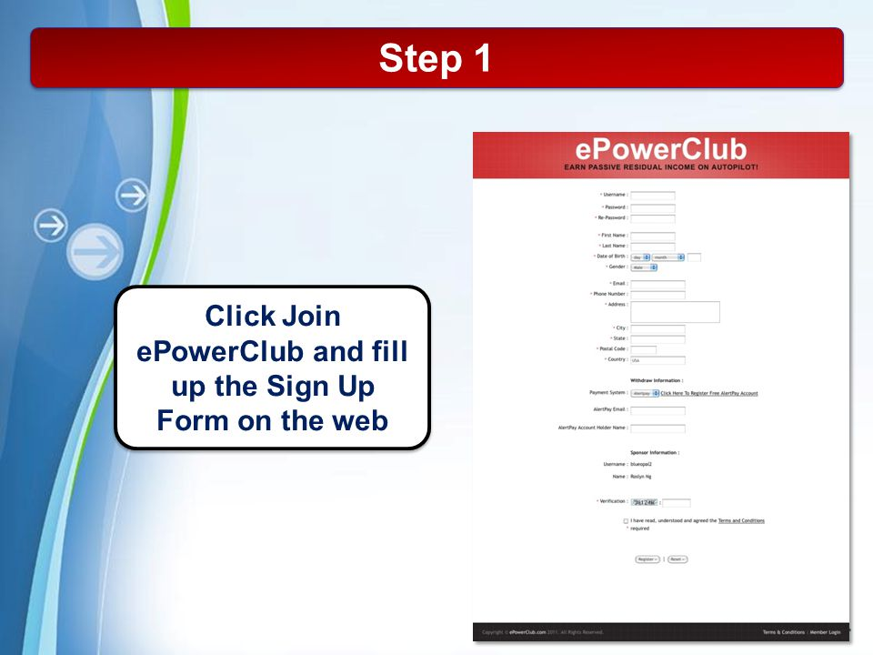 Click Join ePowerClub and fill up the Sign Up Form on the web