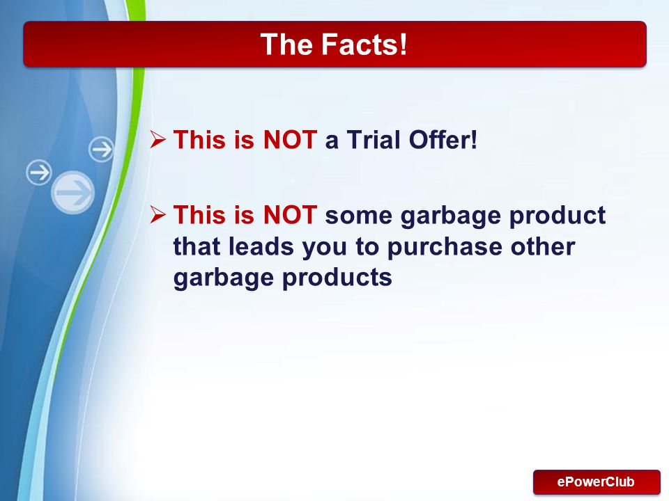 The Facts! This is NOT a Trial Offer!