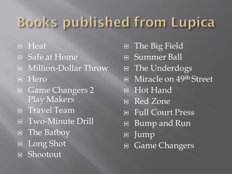 Books published from Lupica
